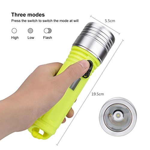 Fdsd 3 Modes Waterproof Scuba Diving XM-L L2 LED Dive Flashlight Torch Light 18650 for Biking/Camping/Backpacking/Hunting/Fishing/Emergencies/Home Repairing 3 Model High /Low /Strobe (Green) (Xml Lcd)