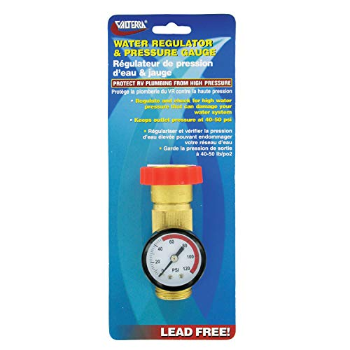 Brass Pressure Regulator - Valterra A01-1124VP Brass Water Regulator/Gauge Combo (Carded)