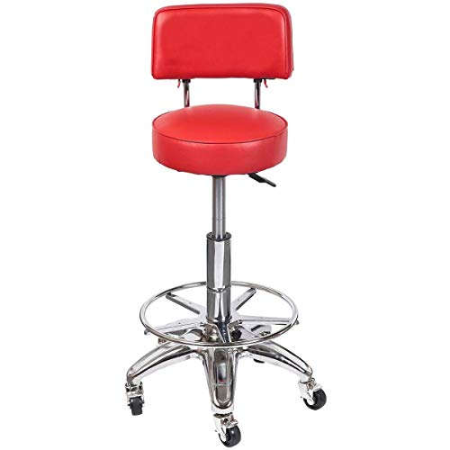 Cirocco Hydraulic Backless Workshop Stool Shop Seat Chair Platform Red | Heavy Duty Ergonomic Footrest Comfy Premium Support Commercial Grade Single Ring Leg Slip Resistant Feet for Shop Office Garage