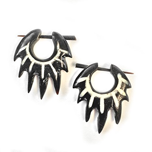 - Water Buffalo Horn Tribal Flame Stick-Through Hoop Earring with Hand-paint Accent
