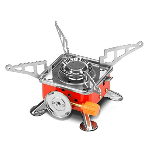Leeko Camping Stove,Collapsible Portable Outdoor Camping Gear, Gas Camping Stove Burner with Electronic Ignition and Black Case for Camping, Hiking, Hunting Outdoor Activities (Burner Propane Ignition Stove Electronic)