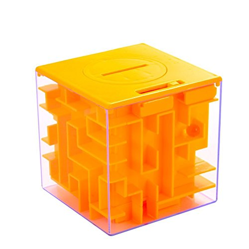 Lanlan 1pcs 3D Cube Money Maze Bank Square Amazing Money Puzzle Box Money Holder ABS Plastic Transparent Outer Brain Teasing Maze For Cash for Kids and Adults Gifts Early Development Toy (Orange)