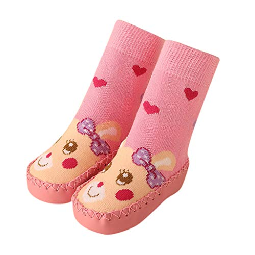 Respctful✿Baby Shoes Infant Baby Lovely Cartoon Anti-Slip Floor Socks Boots Toddler Slippers Infant Winter Warm Socks Shoes Pink ()