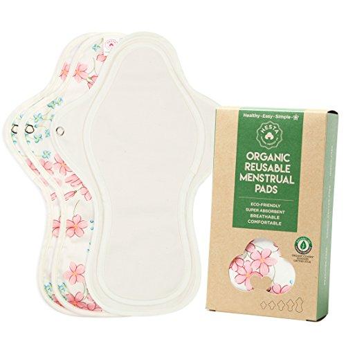 Hesta orgánico algodón reutilizable gamuza menstruación almohadillas, juego de 3