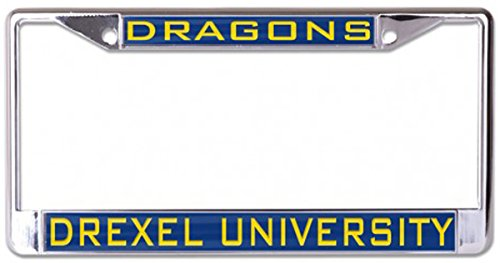 Drexel University Dragons License Plate Frame  Metal With Inlaid Acrylic  Blue  2 Mount Holes