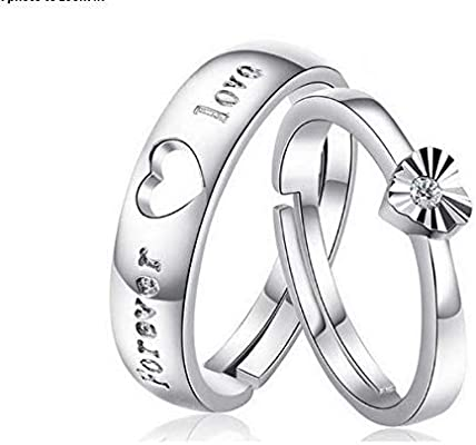 Rhinestone Silver Plated Couple Rings For Wedding Gifts Buy