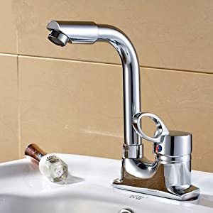Rotating basin bathroom hot and cold faucet lavatory double three-hole faucet new