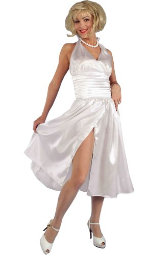 Forum Flirtin with The 50's Satin Hollywood Starlet Costume Dress, White, One Size (Starlet 50s Costume Adult)