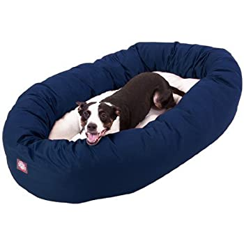 Amazon Com 40 Inch Blue Amp Sherpa Bagel Dog Bed By