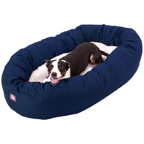 40 inch Blue & Sherpa Bagel Dog Bed By Majestic Pet -