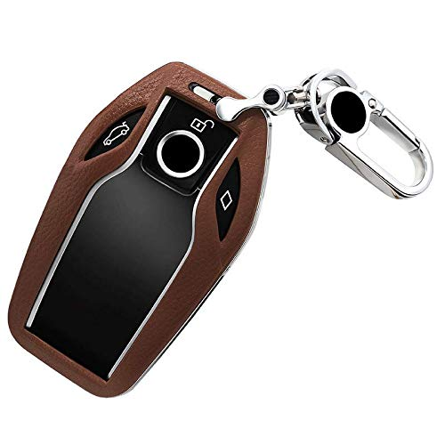 ontto ABS Plastic and Leather Key Fob Holder Smart Display Key Fob Cover Protector Case Keyless fit for BMW 7 Series (Brown)
