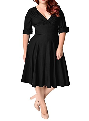 MERRYA Women's Plus Size 1950s V-Neck Sleeved Party Cocktail Swing Dress (16 Plus, Black)