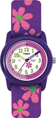Timex Youth T89022 - Reloj de cuarzo para niñas, con luz y correa de textil, color morado con flores: Timex: Amazon.es: Relojes
