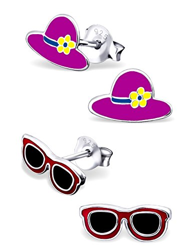 925 Sterling Silver Hypoallergenic Set of 2 Pairs Pink Sunhat & Sunglasses Stud Earrings for Girls and Women (Nickel Free) 20787