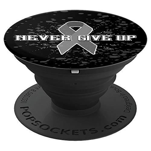 Grey Awareness Ribbon Gift Supporting Brain Cancer Awareness - PopSockets Grip and Stand for Phones and Tablets ()