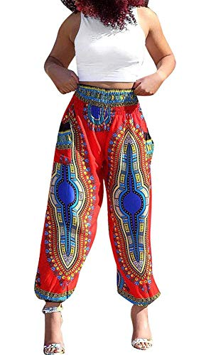 Womens African Dashiki Boho Floral Casual Loose Baggy Harem Hippie Lounge Pants Red ()