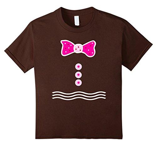 [Kids Pink Gingerbread Man Girl T-shirt Merry Christmas Tee 10 Brown] (Gumdrop Costume Ideas)