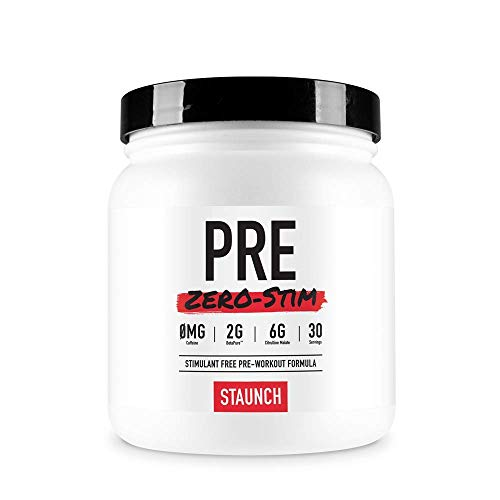 Staunch PRE Zero-Stim - 30 Servings, Peach Mango Pre-Workout Powder, No Stimulates. with Betapure, L-Citrulline, Vitamin B12 and More
