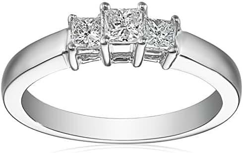 14k Gold Princess-Cut 3-Stone Diamond Ring (1/2 cttw, I-J Color, I1-I2 Clarity)
