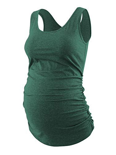 Ecavus Womens Basic Layering Maternity Tank Top Pregnancy Shirts Scoop Neck Sleeveless Solid Side Ruched Vest
