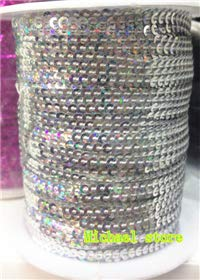 Crafts - New 10Yard Width 3mm Flat Exquisite Spangle Sequins Ribbon Trim Sewing Strings Sequin lace in Roll for Crafts Clothing - (Color: Laser Silver)