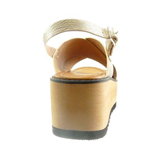 Compensé Chaussure Sandale Lanière Plateforme Femme 5 Angkorly Ouverte 6 cm Talon Plateforme Mode Or w8ExdT