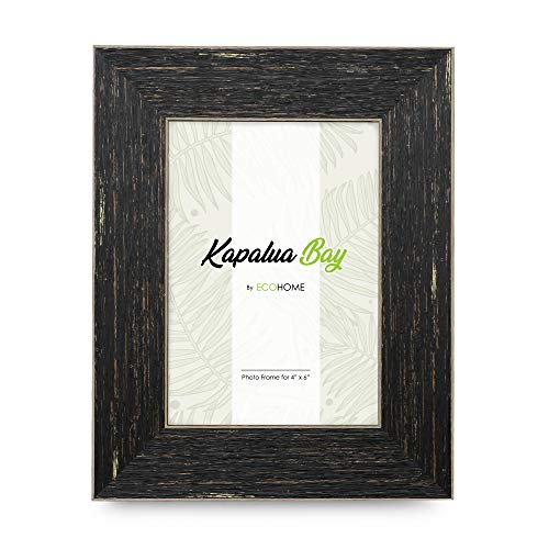 4x6 Picture Frame Brown Barnwood - Distressed, Mount or Desktop Display, Frames by EcoHome ()