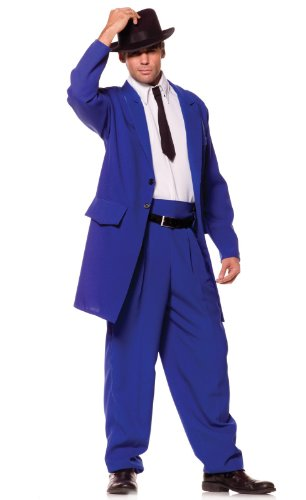 Underwraps Costumes Men's Zoot Suit Mobster Costume, Blue/White/Black, One Size - Westside Story Costumes
