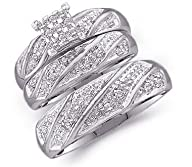 14k White Gold Mens and Ladies Couple His & Hers Trio 3 Three Ring Bridal Matching Engagement…