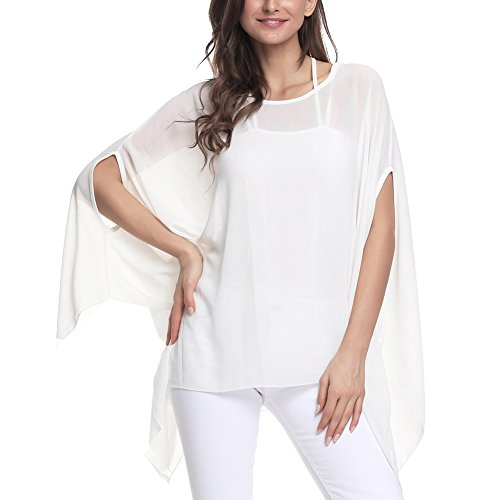 Wiwish Women's Baggy Solid Sheer Chiffon Caftan Poncho Plus Size Batwing Tunic Top Blouse ()