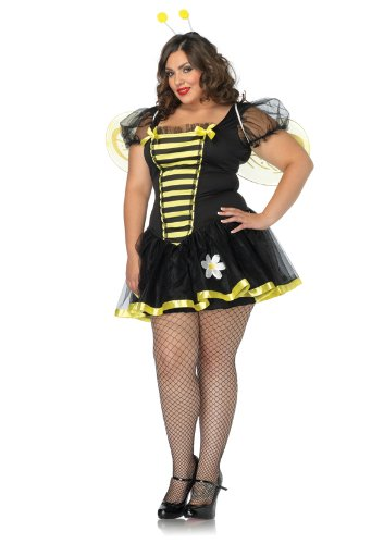 [Leg Avenue Women's Plus-Size Daisy Bee Costume, Black/Yellow, 1X-2X] (Lady Reaper Adult Plus Size Costumes)