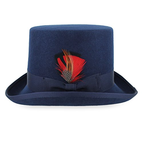 Belfry Topper 100% Wool Satin Lined Men's Top Hat in Black Available in 4 Sizes (Large, Navy) -