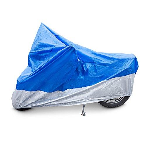 Relaxdays 10010035 Motorradgarage Ganzgarage 246 x 105 x 127 cm, Blau/Silber Gummizug