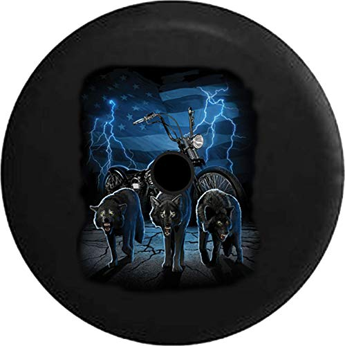 JL Series Spare Tire Cover with Backup Camera Hole Biker Lone Wolf Pack Bobber American Flag Lightning Black 33 in