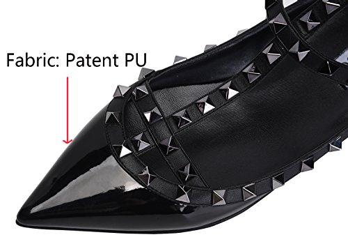 Women's Toe Flats CAMSSOO Pumps Shoes Studs PU black Pointy Buckle Dress Patant Metal Strappy Comfortable F11pqdTw
