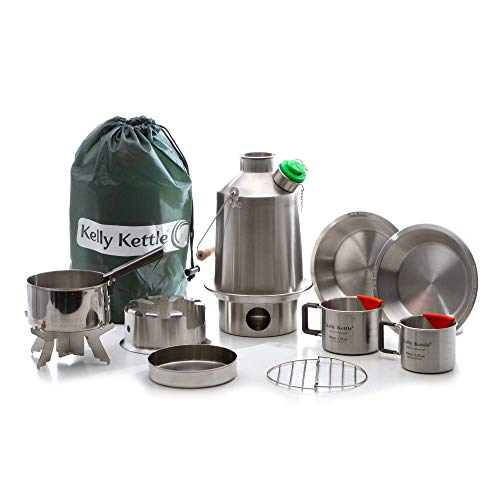 Scout 41 oz. Stainless Steel Kelly Kettle Ultimate Kit 1.2 LTR Rocket Stove Boils Water Ultra Fast with just Sticks Twigs. for Camping, Fishing, Scouts, Hunting, Emergencies, Hurricanes, Tornados