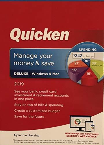 Quicken Deluxe 2019 1 Year membership