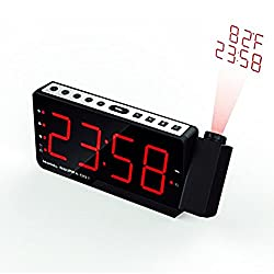 """Projection Alarm Clock Dual Alarms with 7.5"""" large LED display and indoor Thermometer,FM radio alarm clock for bedroom,USB powered and Battery backup"""