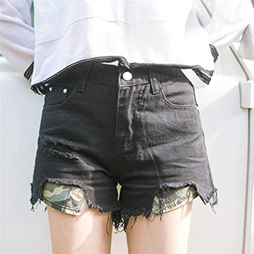 Pantalones Bolsillos Camuflaje Pierna Cortos Vaqueros Mujeres Y De Cintura Las Newin Con Rasgados Satr Ropa Anchos Alta La qTUZ0Z