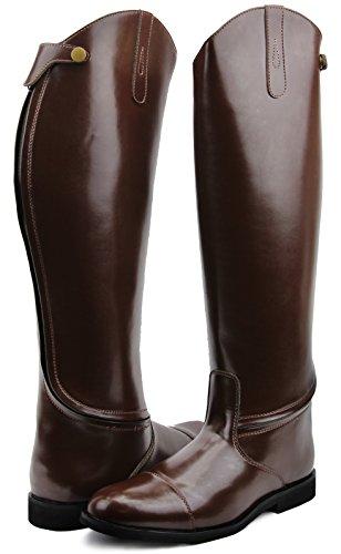 Hispar Mens Man Stirling Dress Dressage Boots with Zipper English Horse Riding (Brown, 12 Plus Calf)