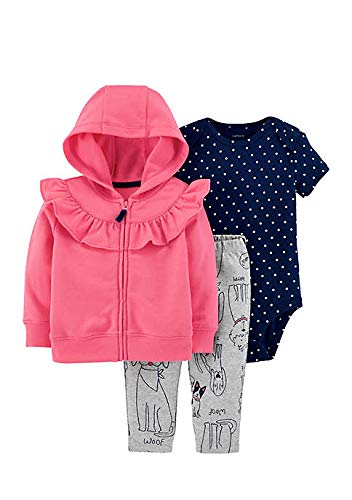 Price comparison product image Carter's Baby Girls' 3-Piece Little Jacket Sets (Pink/Navy/Doggies, 12 Months)