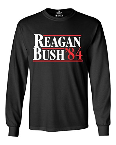 Shop4Ever Reagan Bush 84 Long Sleeve Shirt Presidential Campaign Shirts X-Large Black 0 - 1984 Black T-shirt