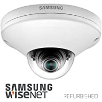 Samsung Network PoE Micro Dome Camera SNV-6013 | Full HD, 2.8mm Fixed Lens, IP66/IK10 for Outdoor, microSD, Motion Detection (Manufacturer Refurbished)