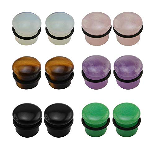 Pierced Art Trends 6 Pairs Mixed Stone Single Flare Ear Plugs Gauges Tunnels Expander with Silicone O-Ring (Gauge=2g(6mm))