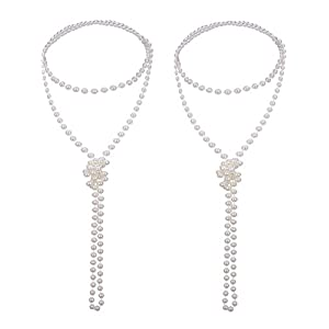 Mudder 2 Pack 1920s Artificial Pearl Necklace Flapper Beads Faux Pearl, 71 Inch