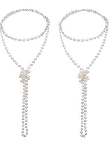 Mudder 2 Pack 1920s Artificial Pearl Necklace Flapper Beads Faux Pearl, 71 Inch -