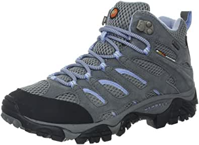Merrell Women's Moab Mid Waterproof Hiking Boot,Grey/Periwinkle,6 M US