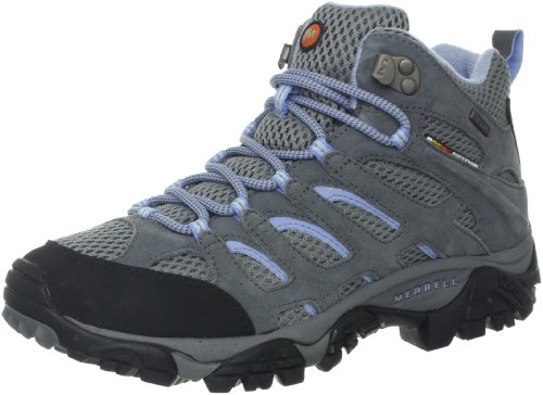 Merrell Women's Moab Mid Waterproof Hiking Boot,Grey/Periwinkle,6 M US by Merrell
