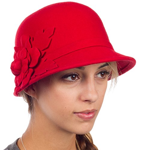 ntage Style Wool Cloche Bucket Bell Hat - Red - One Size (Cloche Style Red Wool Hat)