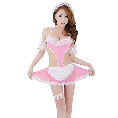 [GoldWish Lingerie Lace Dress Waitress Costume Open Back Apron Skirt G-String Set (Pink)] (The Gimp Costume)
